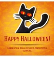 Happy halloween greeting card with black cat vector image vector image