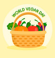 happy vegetarian day concept background flat vector image