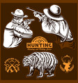 hunters and bear - isolated vector image vector image