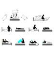 insomnia or sleeping disorder struggle vector image