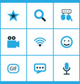 internet icons colored set with video chat emoji vector image vector image