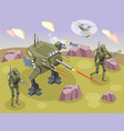 military robots isometric background vector image