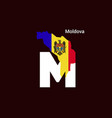 moldova initial letter country with map and flag vector image