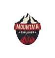 Mountain explorer badge camping adventure emblem