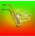 musical saxophone and waves of musical notes vector image vector image