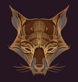 muzzle fox for creating sketches of tattoos vector image vector image