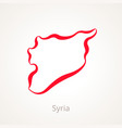 outline map of syria marked with red line vector image vector image