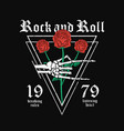 rock and roll t-shirt design skeleton hand is vector image