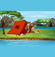 scene with kids camping river vector image vector image