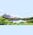 scenic summer landscape with mountains lake vector image