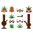 set cannabis leafs bongs vector image