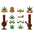 Set of cannabis leafs bongs vector image vector image