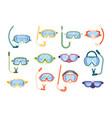 set snorkeling masks underwater glasses vector image