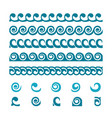 set wave border ornaments vector image