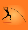 silhouette of a pole vault athlete vector image vector image