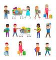 smiling children doing shopping poster on white vector image