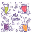 smoothies detox diet drinks in different bottle vector image