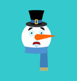 snowman scared emotion avatar fear emoji face new vector image