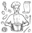 The main chef is holding a pot of vegetable soup vector image vector image