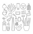 thin line icon set - aloe vera plant and products vector image vector image