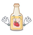 tongue out bottle apple cider above cartoon table vector image vector image