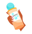 woman hand holds shampoo bottle hair care element vector image