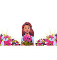 woman holding bouquet of tulip flowers happy women vector image