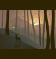 woods on hills during sunset or sunrise vector image vector image