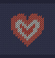 wool knitted pattern with red heart on blu vector image vector image