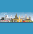 yangon skyline with gray buildings and blue sky vector image vector image