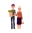 Young man helping grandmother with shopping vector image vector image
