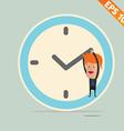 Cartoon Businessman hanging on the clock - - vector image