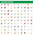 100 inn icons set cartoon style vector image vector image