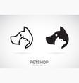 a dog and cat design on white background petshop vector image vector image