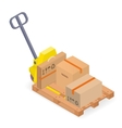 A pallet truck with pallet and cardboard boxes vector image vector image