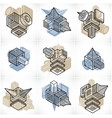 abstract three-dimensional shapes set designs vector image vector image