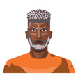 african guy with grey hair and beard on white vector image vector image