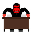 Angry boss Chief Red with anger at table Head of vector image