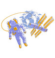 astronaut flying in open space connected to space vector image vector image