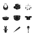 Baby born set icons in black style Big collection vector image vector image