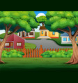 background cartoon with beautiful cozy country hou