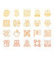 bitcoin simple color line icons set vector image