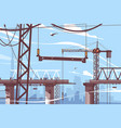 bridge construction process vector image