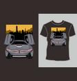 car themed t-shirt design sport racing model cars vector image vector image