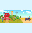 cartoon banner on agricultural theme vector image vector image
