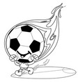 cartoon soccer character on fire vector image