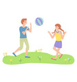 children boy and girl playing toy ball near vector image
