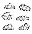 cloud icon set doodle line art weather sign vector image