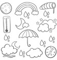 collection of weather set doodles vector image vector image