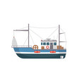 commercial fishing ship side view icon vector image vector image